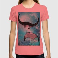 Manta Rays Womens Fitted Tee Pomegranate SMALL