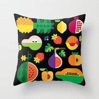 Fruit Medley Black Throw Pillow