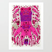 Pink Worm Neck Art Print