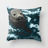 Grey Seal Throw Pillow