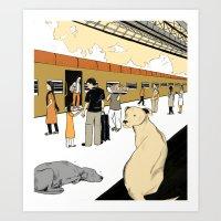 Train Dogs Art Print