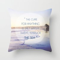 Salt Water Quote, Ocean Photography Throw Pillow