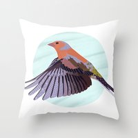 Chaffinch In Flight Throw Pillow