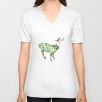 V-neck T-shirt featuring Llama in a Green Deer Sweater by Goosi