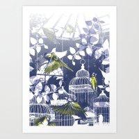 Green Finch Green House Art Print