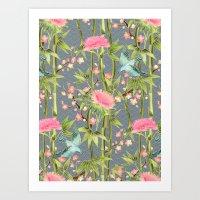 Bamboo, Birds and Blossom - grey Art Print