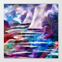 Sailing The Coast Of San Diego by Sherri Of palm Springs/ abstract Canvas Print