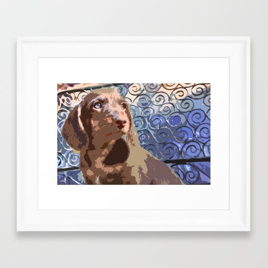 """Bruno"" ~ Dachshund, Weiner Dog, Doxie, everywhere! Framed Art Print"
