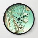 Ferris Wheel on Mint Sky Wall Clock