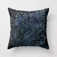 3D Ornaments, Blue Throw Pillow