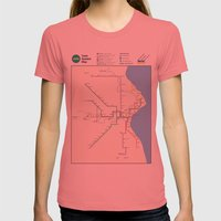 Milwaukee Transit System Map Womens Fitted Tee Pomegranate SMALL
