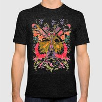 PAINTED BUTTERFLY Mens Fitted Tee Tri-Black SMALL
