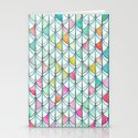 Pencil & Paint Fish Scale Cutout Pattern - white, teal, yellow & pink Stationery Cards