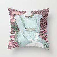 Sitting Girl Throw Pillow