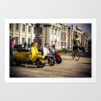 Vespa Scooters In Greenw… Art Print