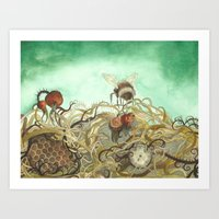 Bumblebee In Thorns Art Print
