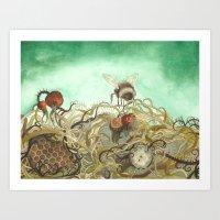 Bumblebee In Thorns Art Print