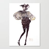 Fashion sketches in mixed technique Canvas Print