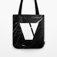 Black Marble - Alphabet V Tote Bag