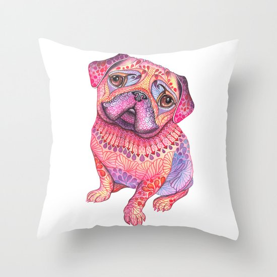 Pugberry Throw Pillow