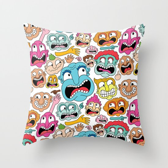 Weird Faces Throw Pillow