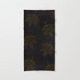 Hand & Bath Towel - Autumn-world 3 - gold leaves on black chalkboard - Simplicity of life