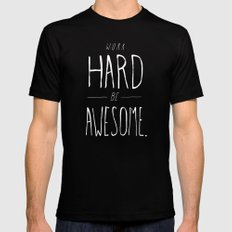 Work Hard Be Awesome Mens Fitted Tee Black SMALL