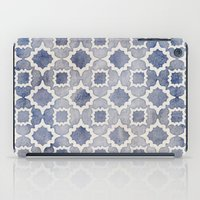 Worn & Faded Navy Denim Moroccan Pattern in grey blue & white iPad Case