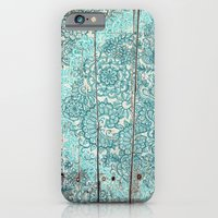 Teal & Aqua Botanical Doodle on Weathered Wood iPhone 6 Slim Case