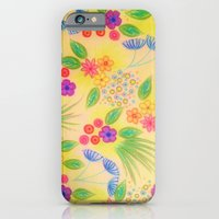 iPhone & iPod Case featuring WILDFLOWER FANCY 1 - Cheerful Yellow Lovely Floral Garden Pattern Girly Feminine Trendy Flowers by EbiEmporium