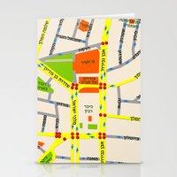 Tel Aviv Map Design - Wr… Stationery Cards