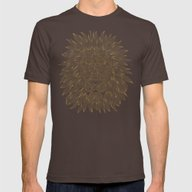 Lion / Black Mens Fitted Tee Brown SMALL