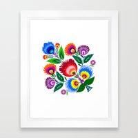 Colorful Folk Flowers Framed Art Print