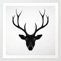 deer Art Prints featuring The Black Deer by Ruben Ireland