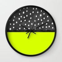 Black white polka dots bold neon lime color block Wall Clock