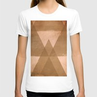 Distressed Triangles Womens Fitted Tee White SMALL