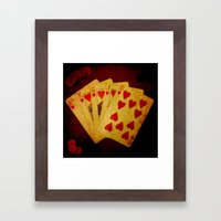 Escalera Real de Corazón (Dirty Poker) Framed Art Print