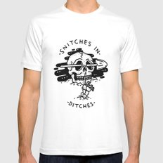 Snitches In Ditches White SMALL Mens Fitted Tee