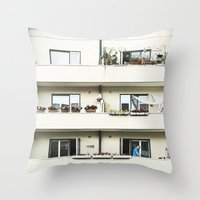 Looking at the neighbor. Throw Pillow