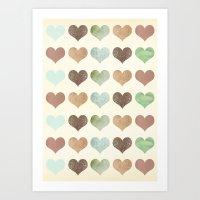 DG HEARTS - RUSTIC Art Print