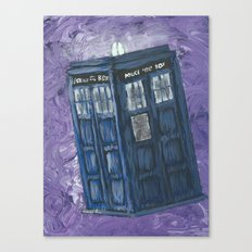 Swirling Purple Galaxies Tardis Canvas Print