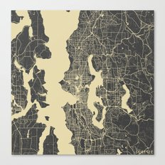 Seattle map yellow Canvas Print