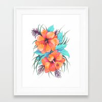 TROPICAL FLOWER {orange hibiscus}  Framed Art Print