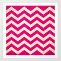 Cherry Red Chevron Art Print