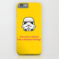 iPhone & iPod Case featuring I'm not a clone! I'm a human being! by Claudio Gomboli