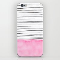 Stripes And Pink Waterco… iPhone & iPod Skin