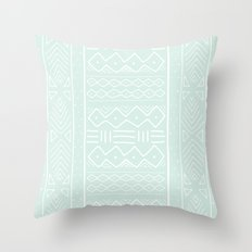 Mudcloth in mint Throw Pillow