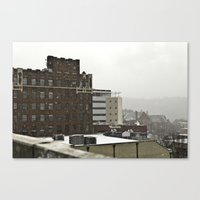 Snowy Cityscape Canvas Print