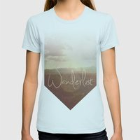 Wanderlust Womens Fitted Tee Light Blue SMALL