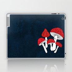 Red mushrooms field on navy blue Laptop & iPad Skin